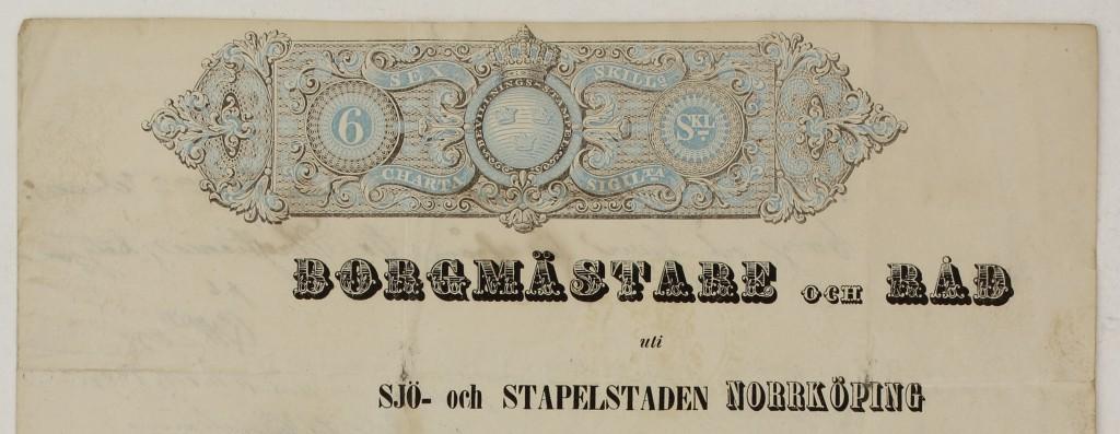 Norrköpingspass 1853, framsida, sidhuvud