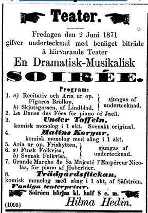 Hilma Hedin soiré 1871