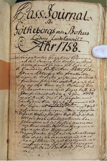 Göteborgs och Bohus läns landskansli passjournal 1758mindre