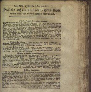 Bild av första sidan av Politie och Commercie tidningar den 8 november 1760